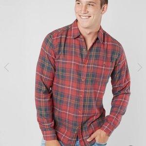 Hurley Kurt Red Plaid Button Up Flannel Shirt